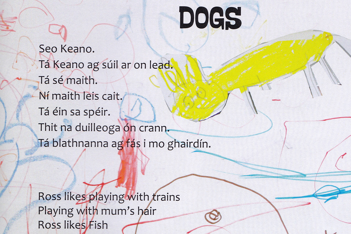 Page from Kids Own book with drawings of dogs