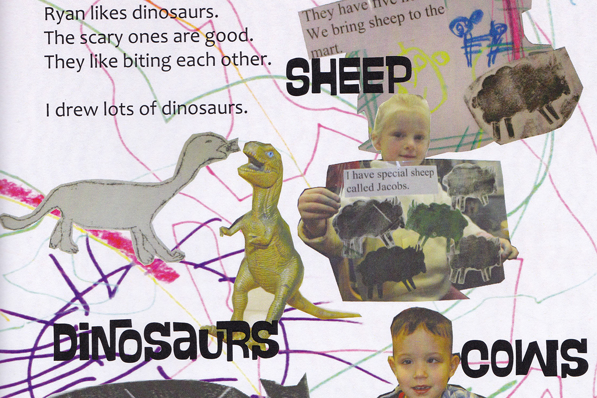 Page from Kids Own book with drawings of sheep, dinosaurs and cows