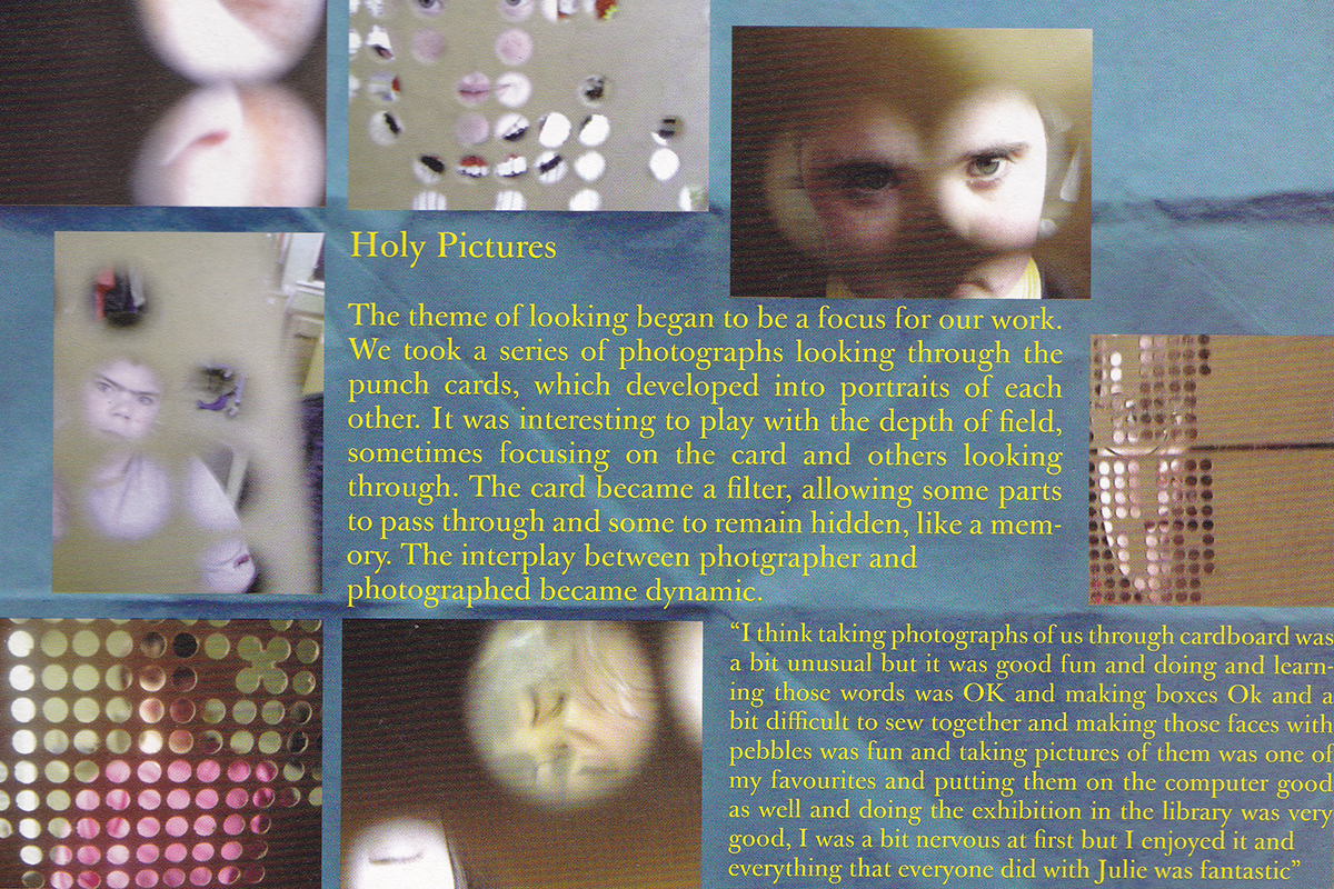 Page from Beneath the surface with images of holy pictures