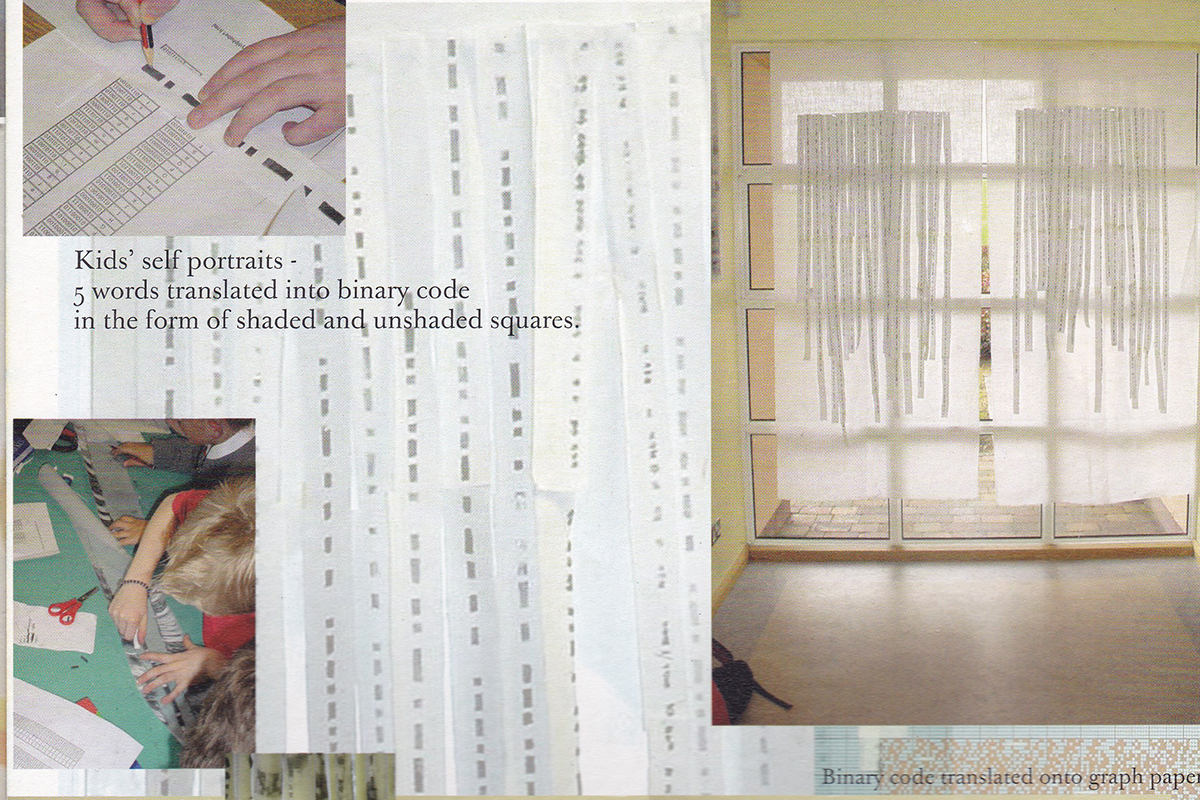 Page from Beneath the surface with images of binary code drawings