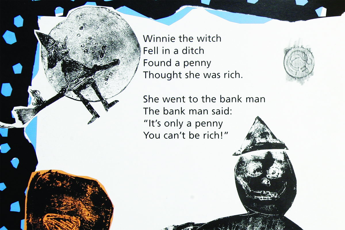 Rhyme and illustration about a witch in Kids Own book