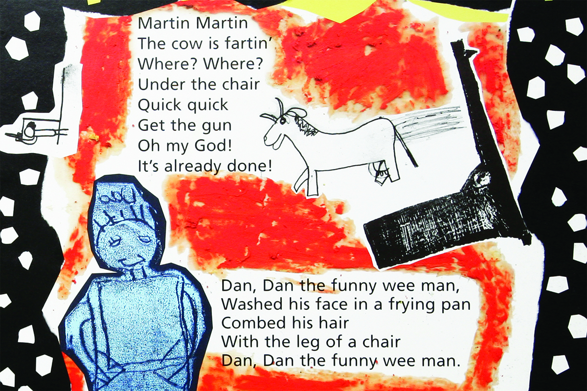 Rhyme and illustration about a horse and a funny wee man in Kids Own book