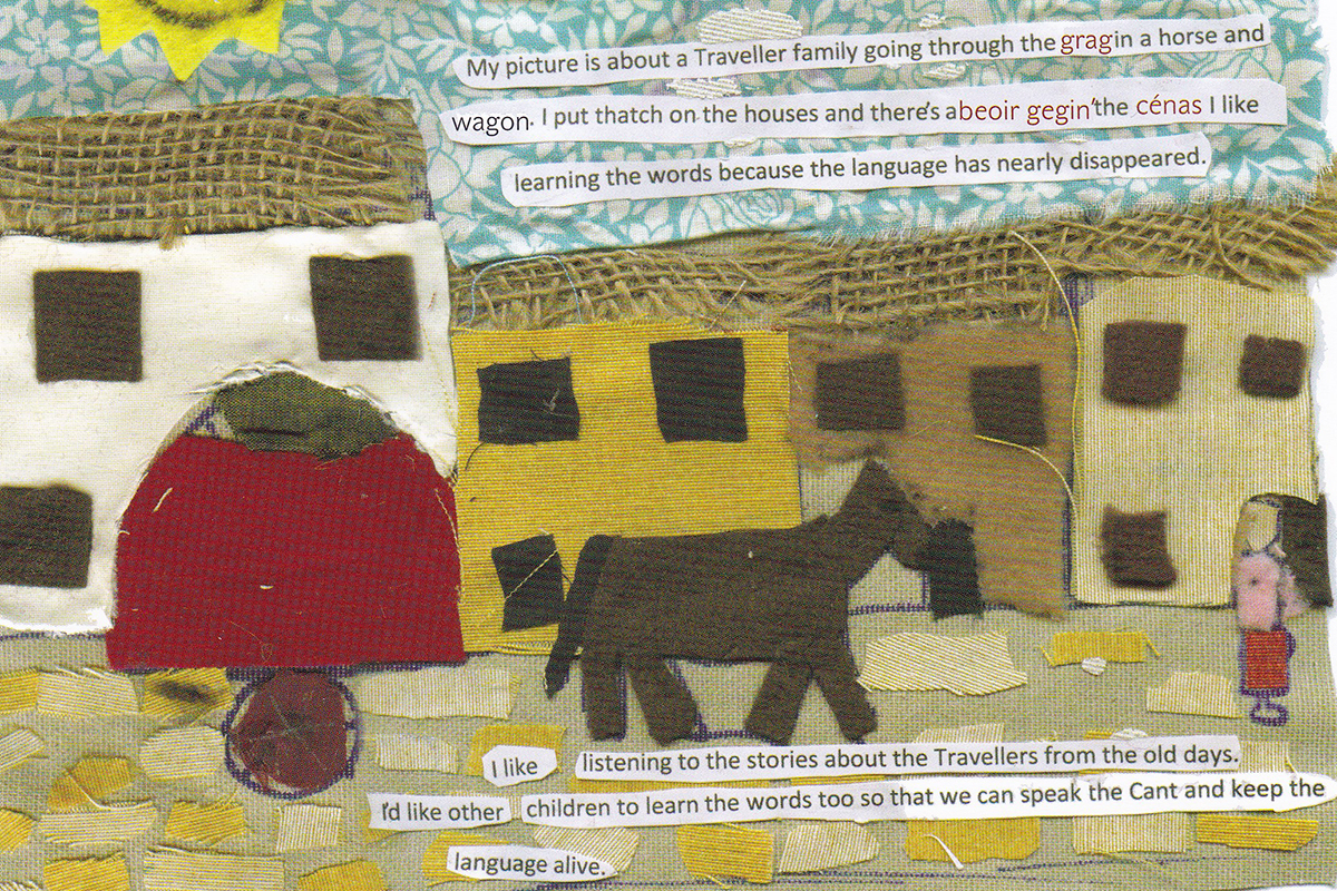 Page from Cant Turn Back with collage and text of houses and horse