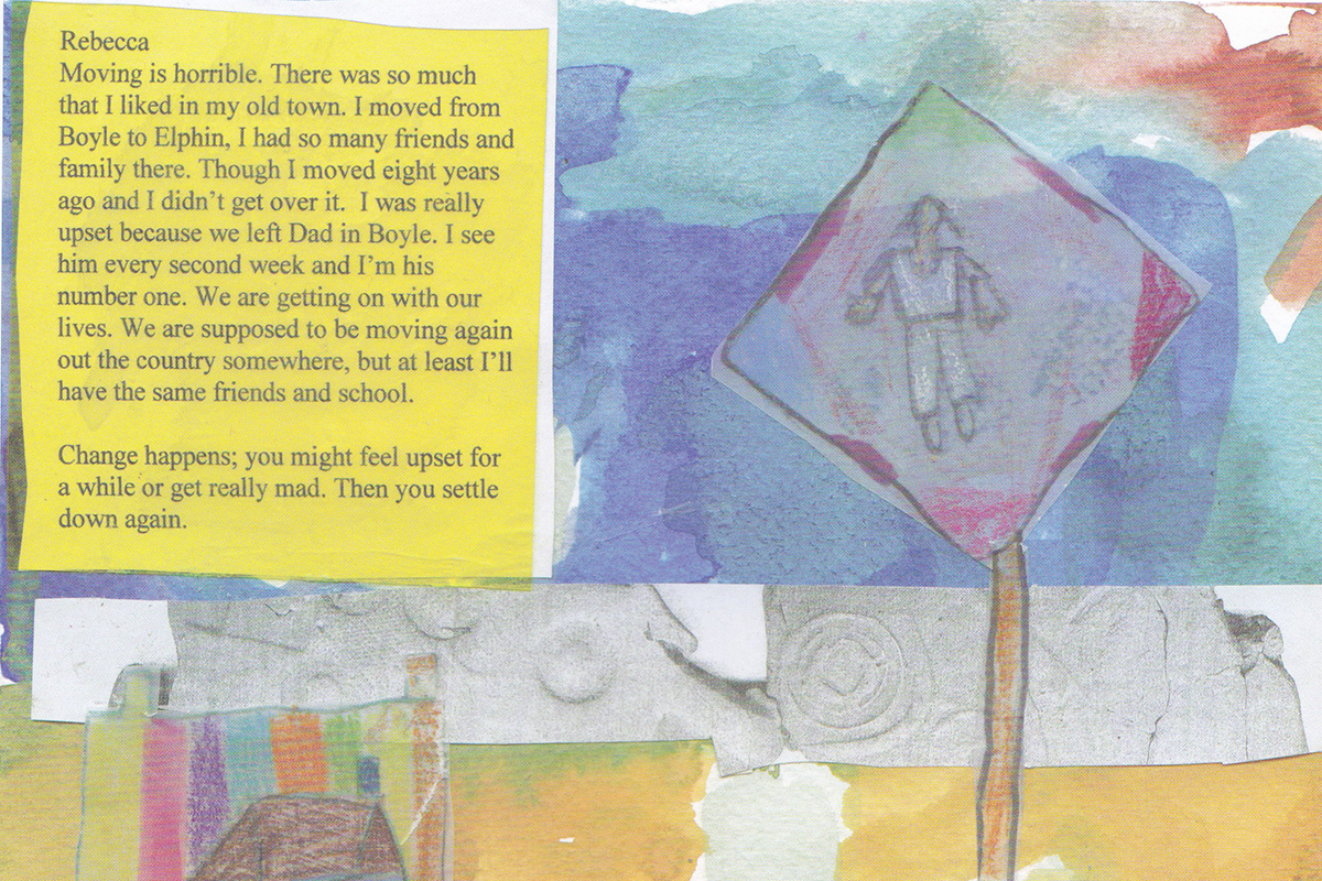 Kids Own Book: Page with child's story and painting