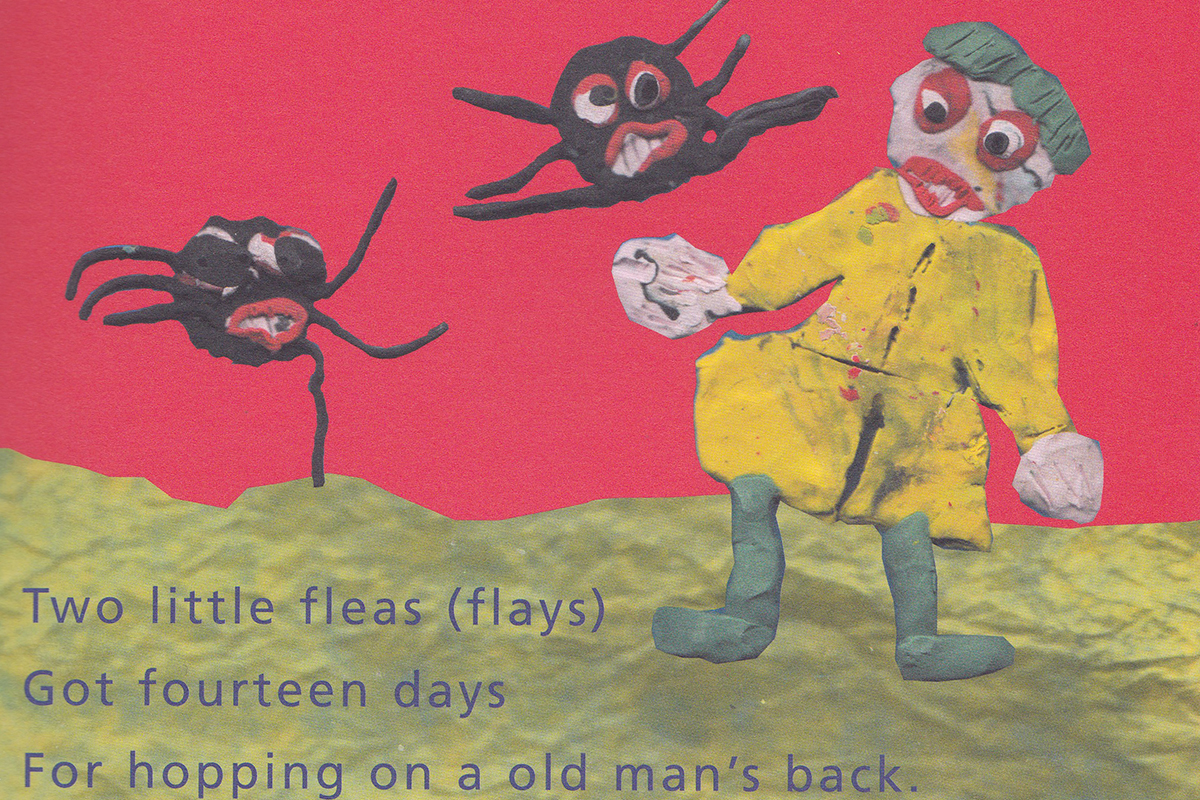 Rhyme and illustration about an old man and fleas