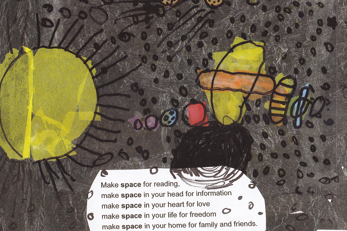 Illustrated page about space in book by Kids Own