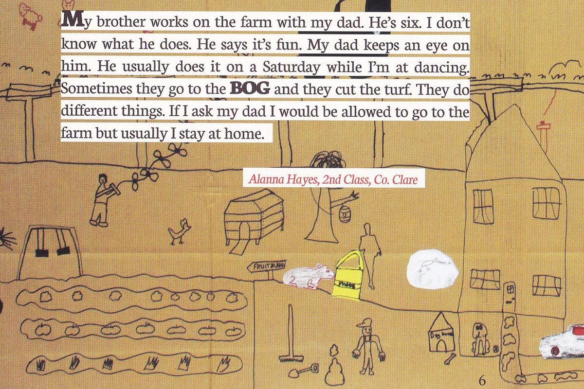Drawings and descriptions of farm life by children