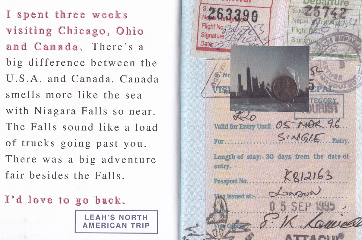 Travellers of the World book page - Collage of journey to Canada
