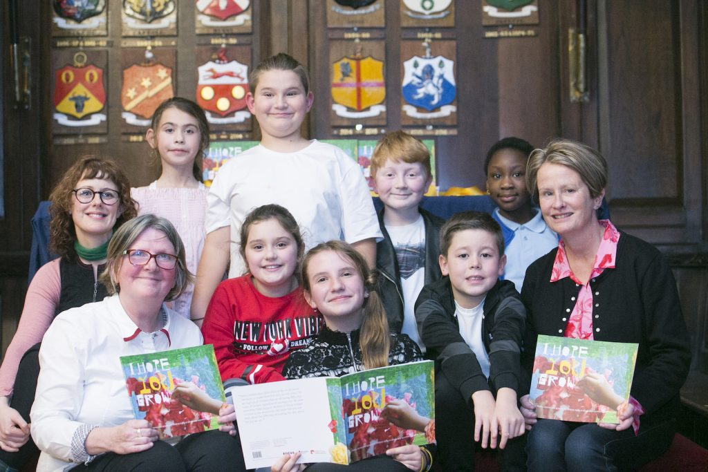 Image of Some of the young writers and artists with Jo Holmwood, Acting CEO Kids' Own, writer Mary Branley and artist Maree Hensey. Photo copyright Leon Farrell, Photocall Ireland.