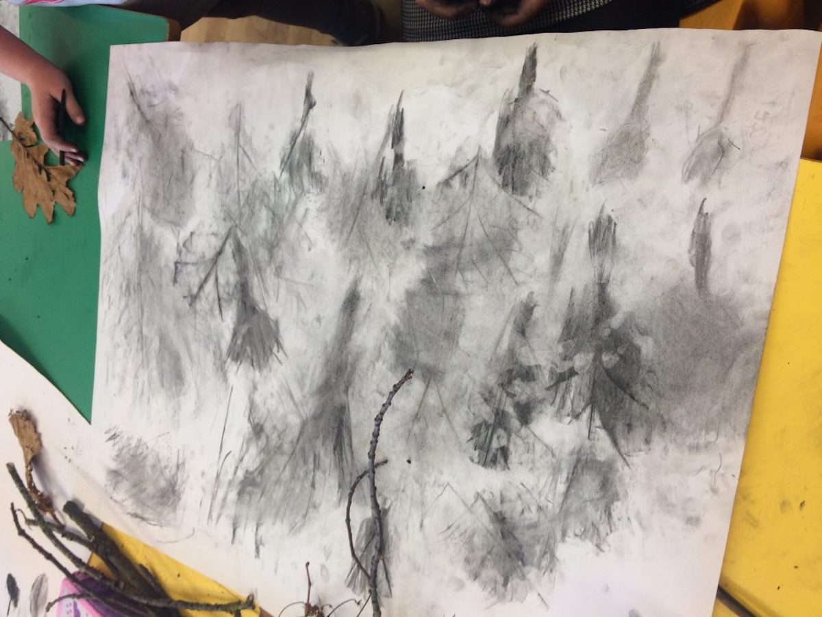 Image of Strandtown charcoal drawing