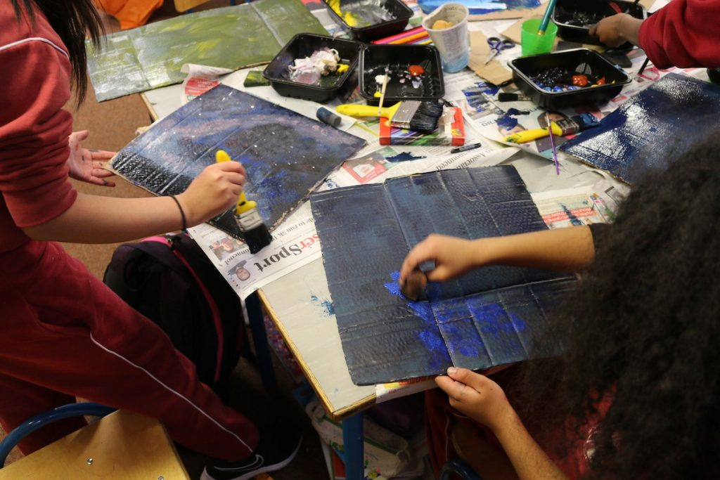 Children from St Angela's N.S., Castlebar  working on the Schools Exhibition Project