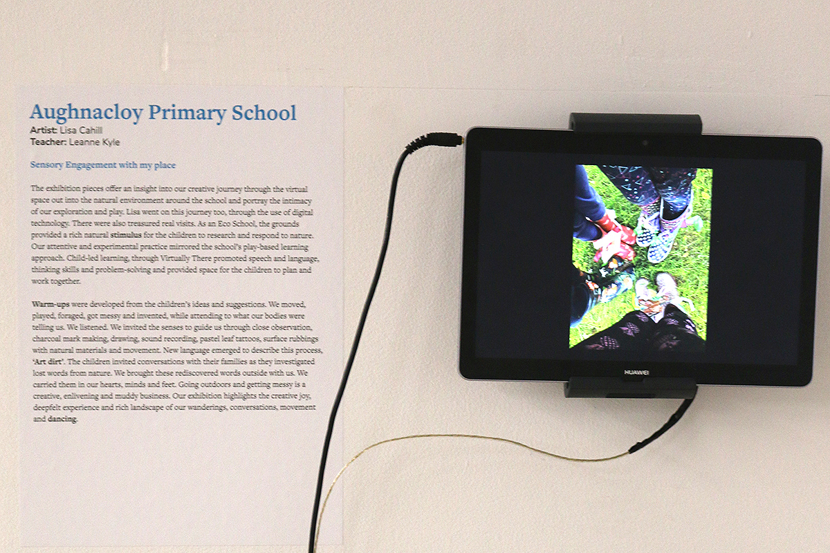 Aughnocloy exhibit at Virtually There exhibition - Kids Own - Close-up of video piece with text beside it