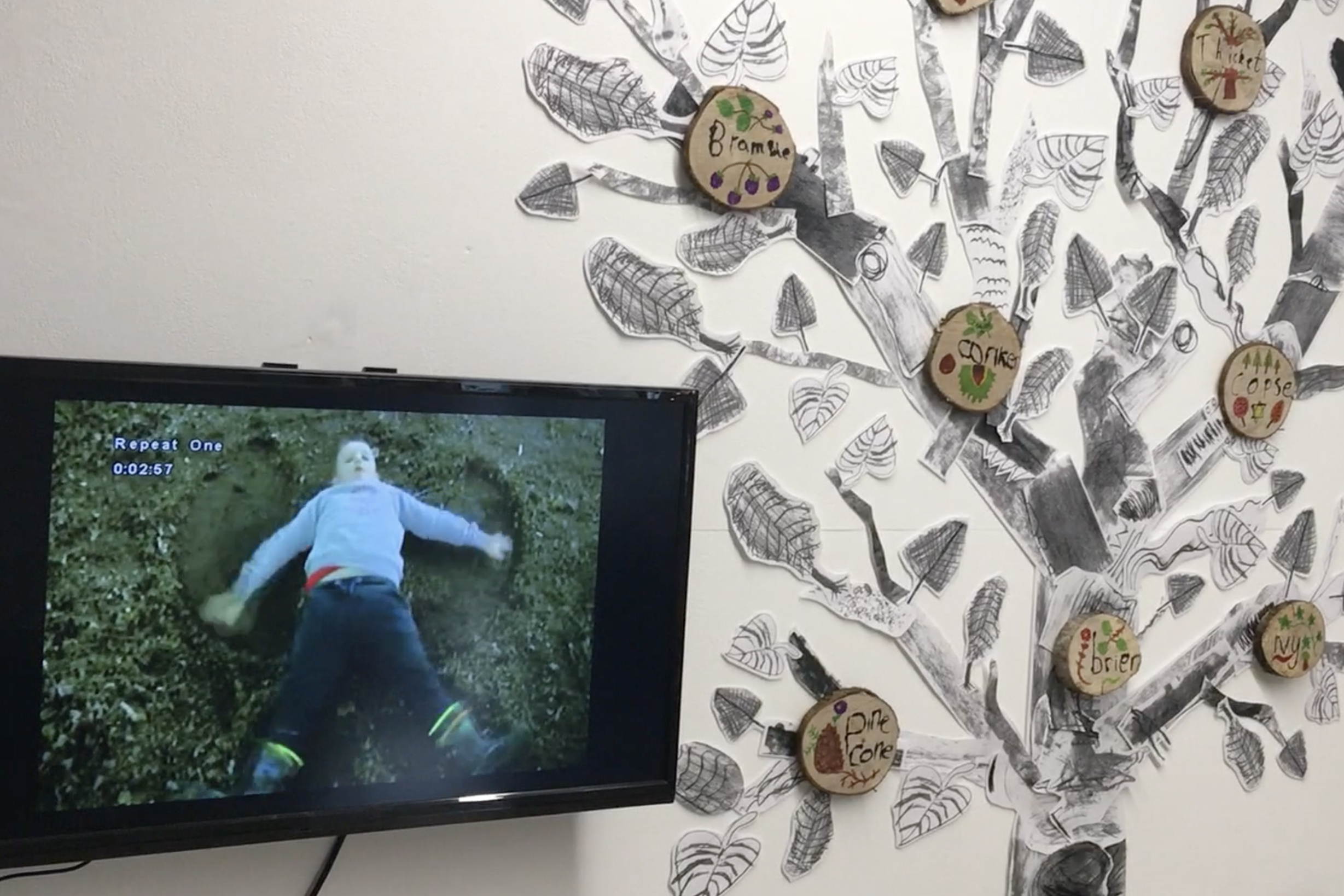 Aughnocloy exhibit at Virtually There exhibition - Kids Own - Photo montage with collage tree and video