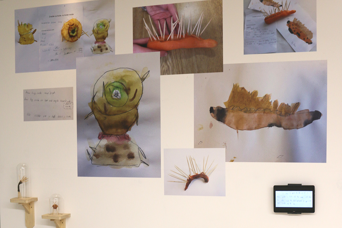 Ballydown exhibit in Virtually There exhibition - Kids Own - Inside Outside sculptures and drawings