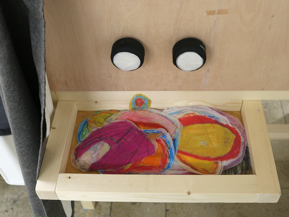Ballydown exhibit in Virtually There exhibition - Kids Own - Magic viewing box - colour discs