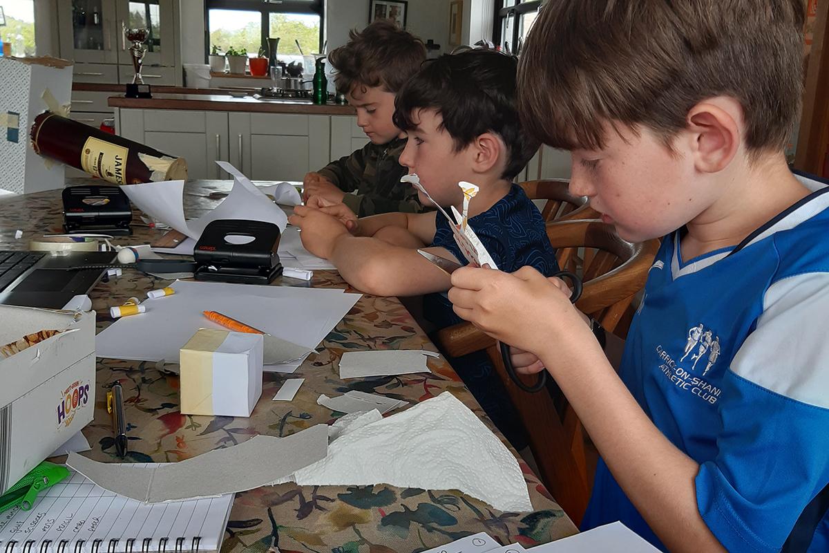Kids Own Reinventors working on sculptures