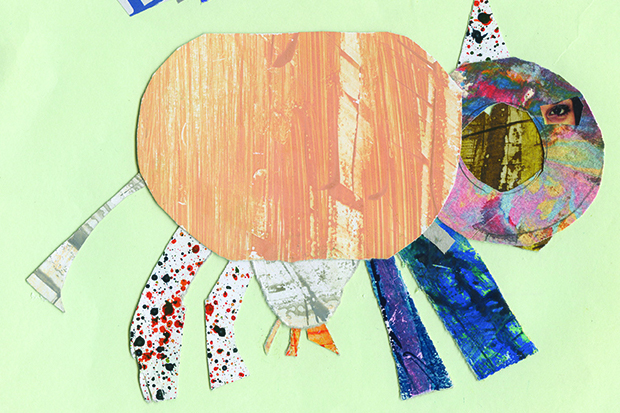 Collage of cow from Can't Lose Cant book - Kids Own Publishing Traveller language