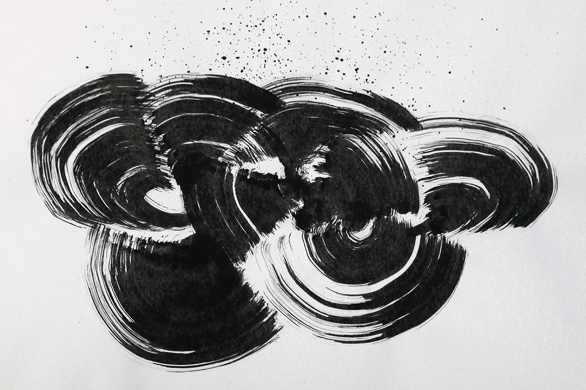 Black ink drawing experimental
