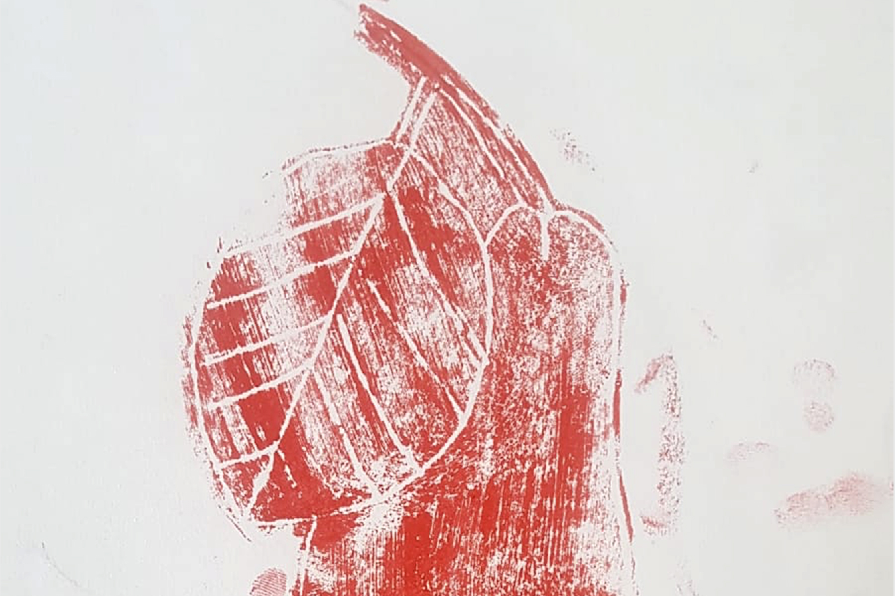Monoprint of pear by VTT participant - kids own art project
