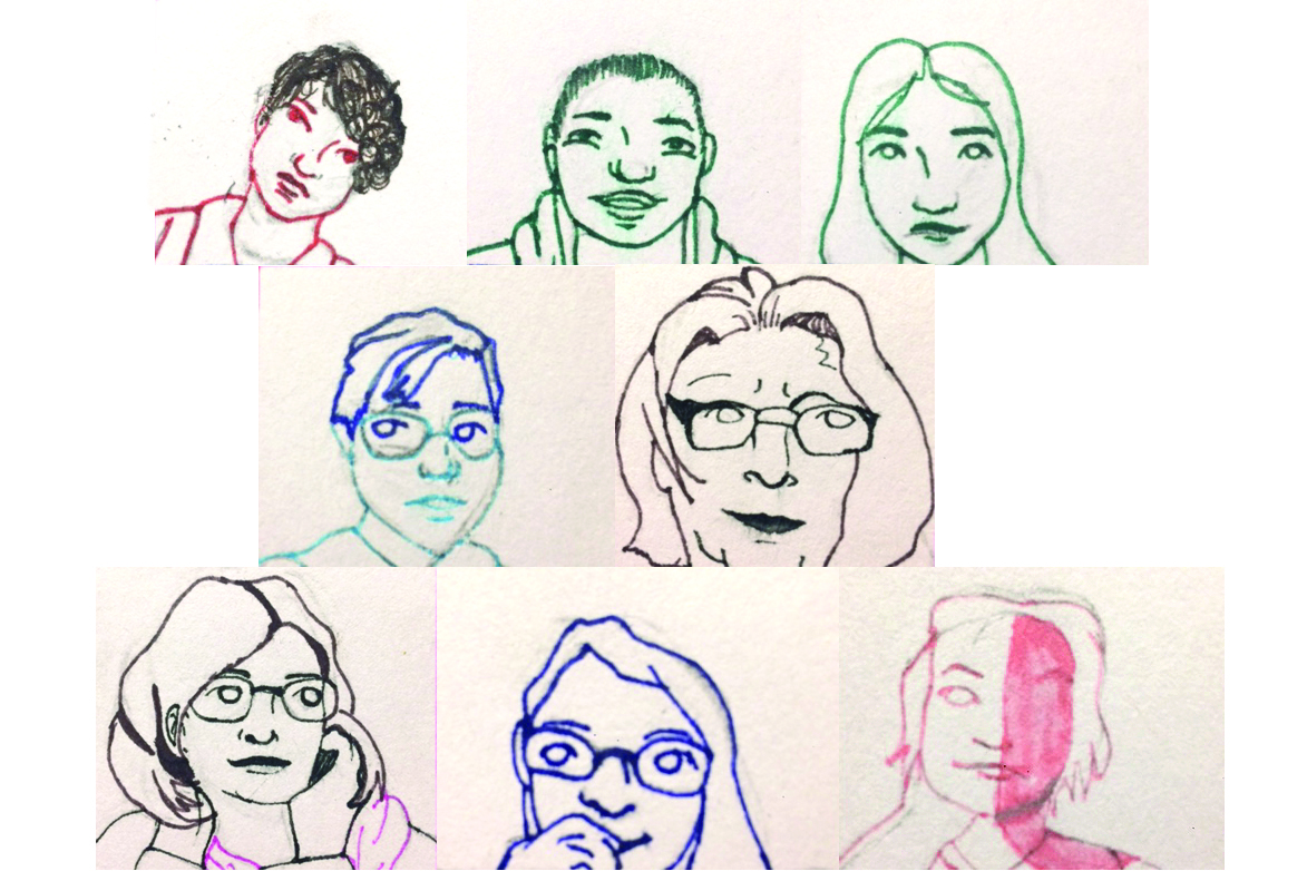 Pen drawings of online Zoom meetup with kids Own Publishing