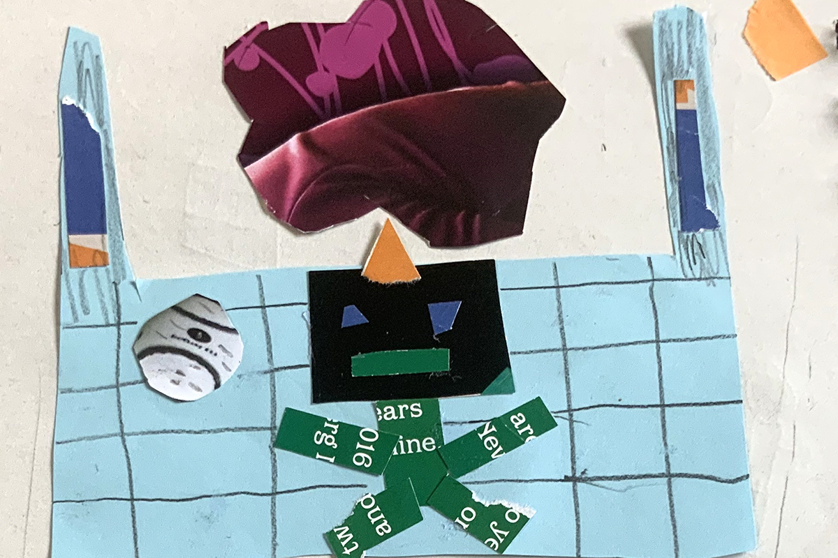 Collage with robot playing with ball by VTT participant - kids Own Publishing art project