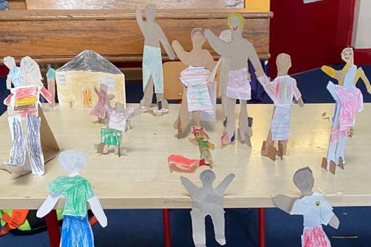 Cut out characters 1st and 2nd class at Corrigeenroe NS in County Roscommon - Kids Own project