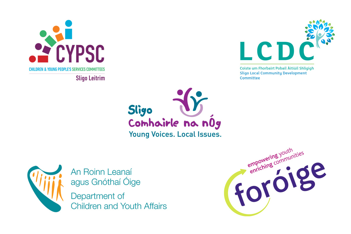 Logos of Foróige, Dept of Children and Youth Affairs, Sligo Comhairle na nÓg, Sligo LCDC, Sligo Leitrim CYPSC