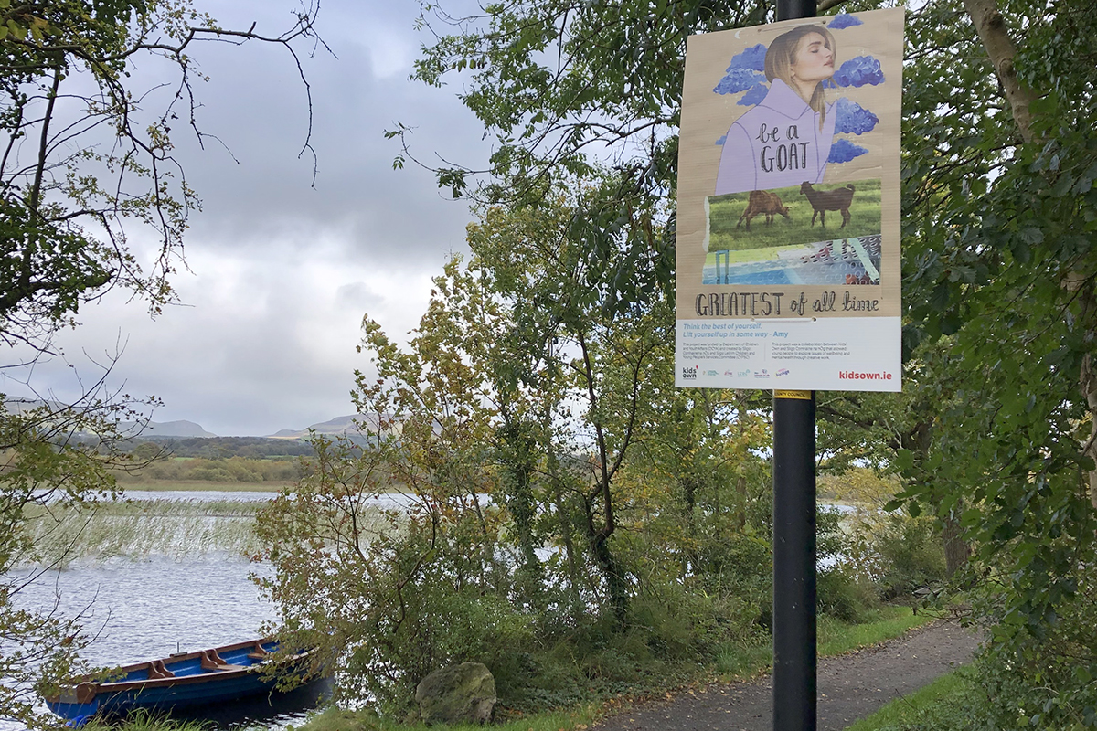 Sligo poster about mental health hung on pole beside lake