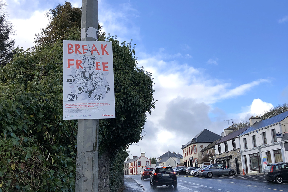 Sligo poster about mental health hung on pole in town