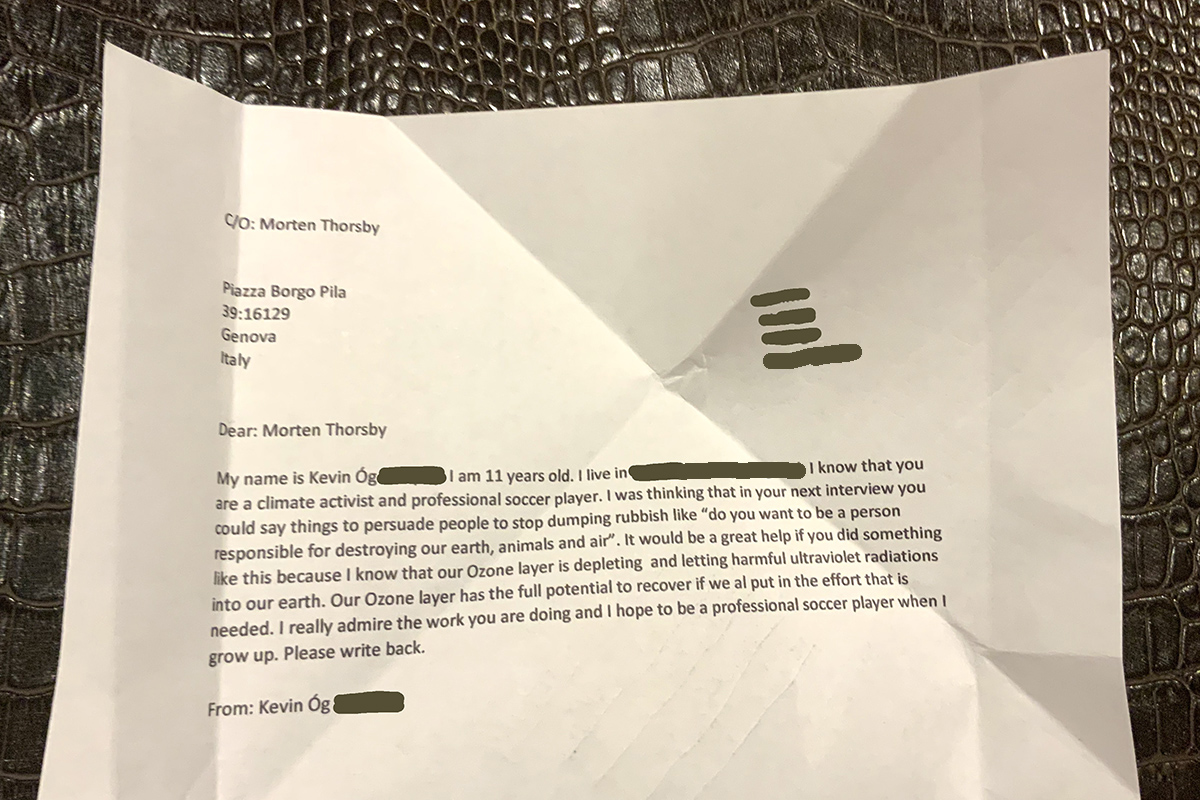Letter to Morten Throsby about climate breakdown