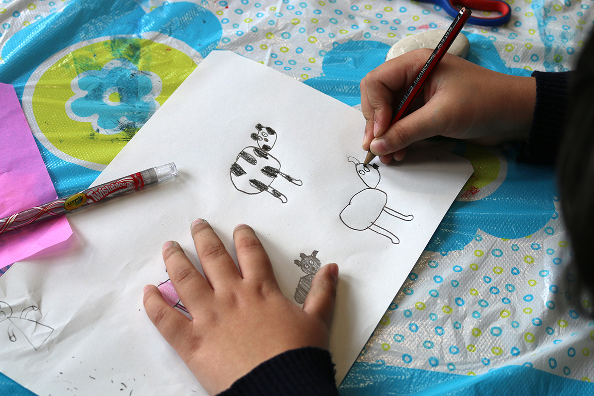 Child drawing animals for the Big Book of Sligo
