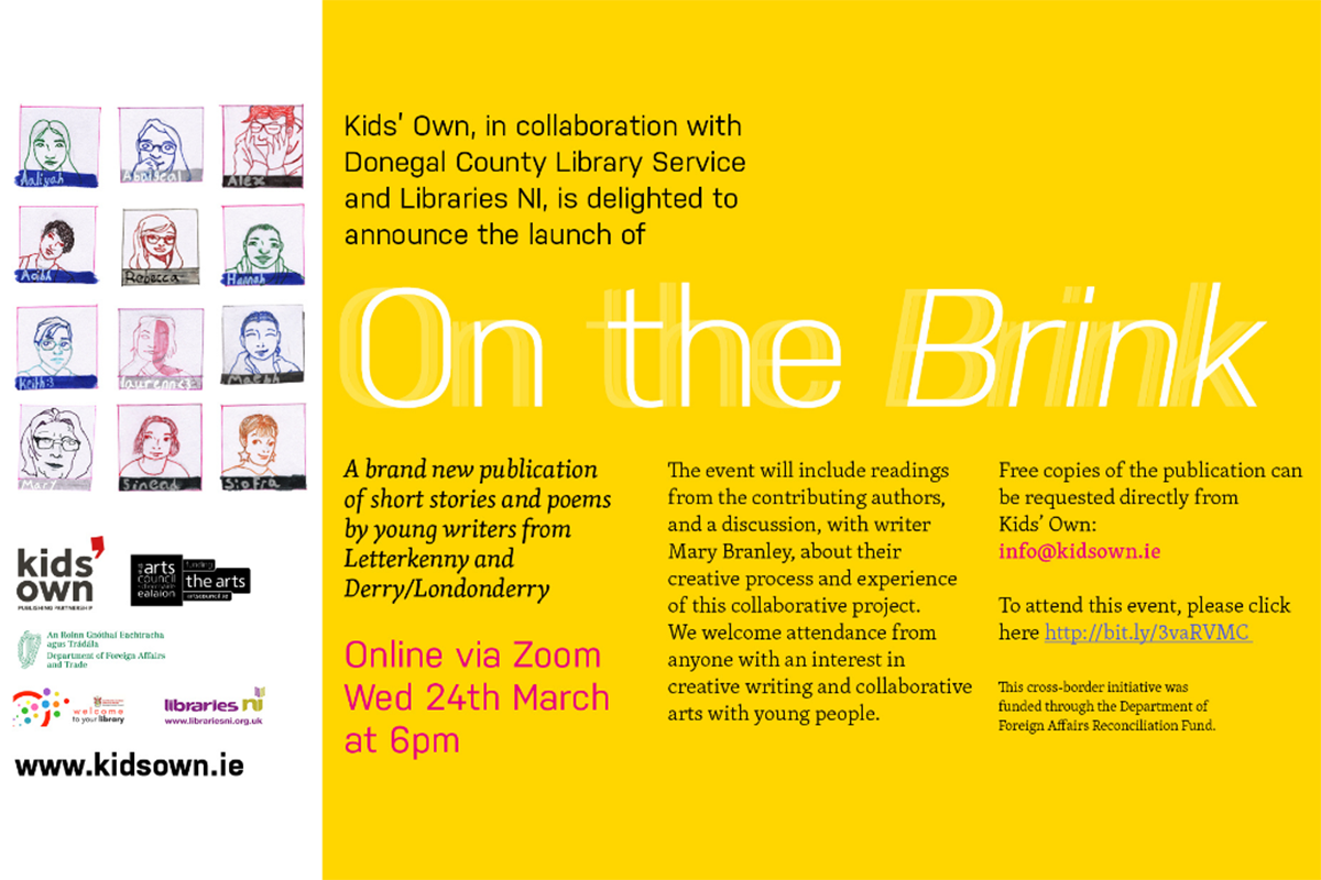 Invite to On the Brink Launch young writers creative writing publication