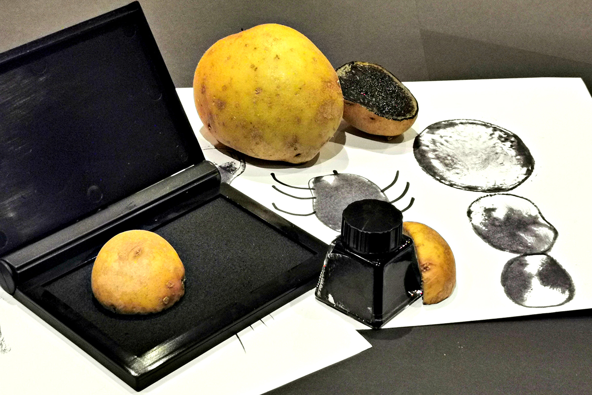 Creating curious creatures with potato and lemon prints