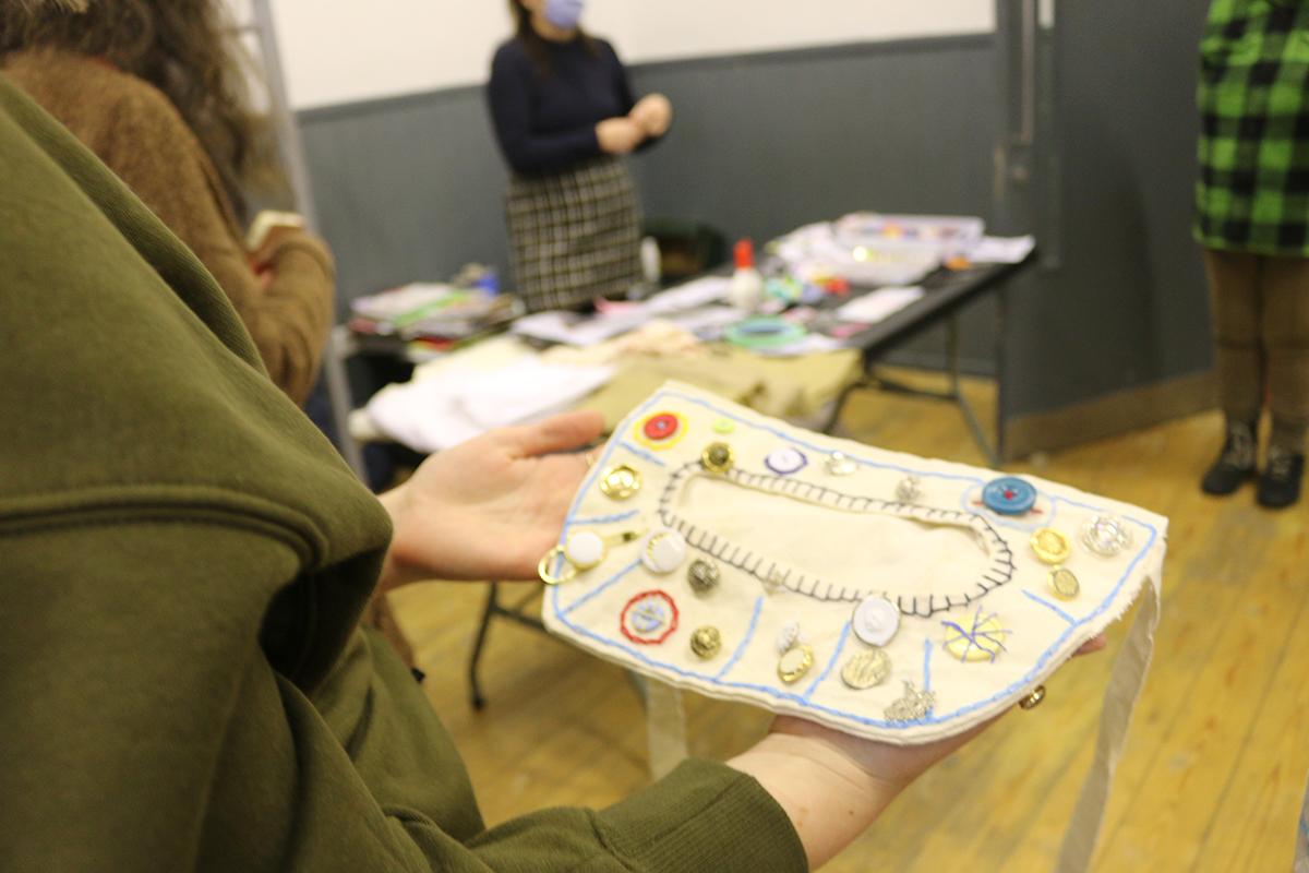 Creative session making beady pockets by Francesca Hutchinson